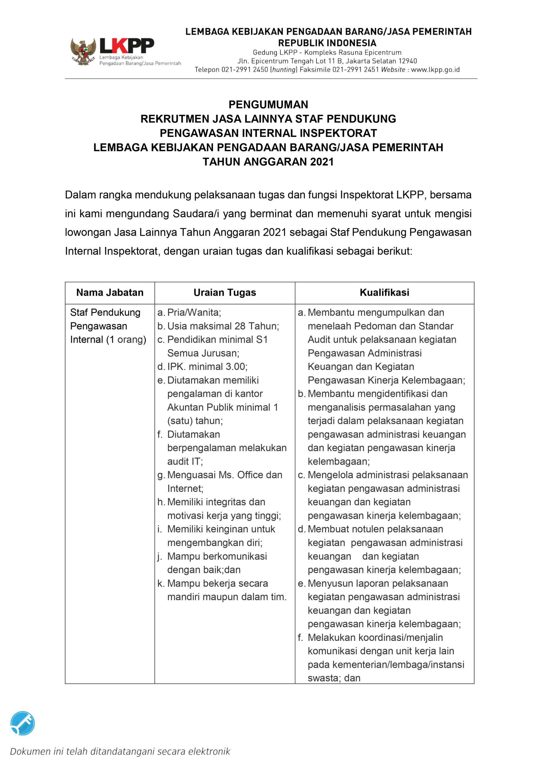 Penerimaan Staf Pendukung Pengawasan Internal Inspektorat LKPP